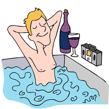 An image of a man drinking wine and listening to music in a spa.