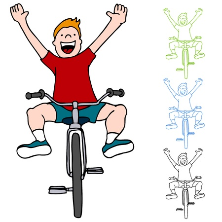 An image of a kid riding a bicycle without using his hands.
