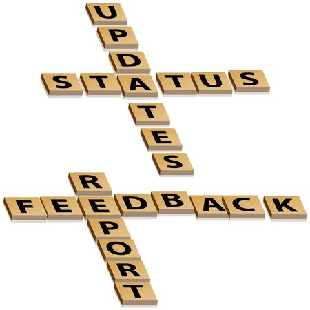 status: Crossword letters feedback report and status updates with drop shadow.