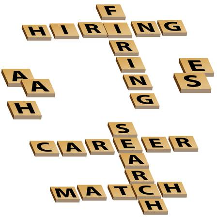 cross match: Crossword letters hiring firing and career search match. Illustration