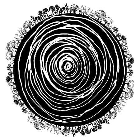 An image of a circular icon of tree roots and surrounding trees. Vector