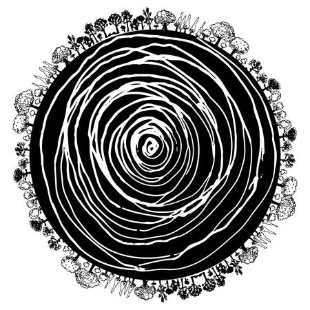 Una imagen de un icono circular de raíces de los árboles y los árboles circundantes. Ilustración de vector