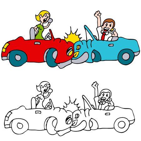 携帯電話で話しながら自分の車をクラッシュする二人のイメージ。