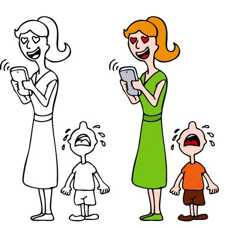 woman smartphone: An image of a woman in love texting on her smartphone device and ignoring her crying child.