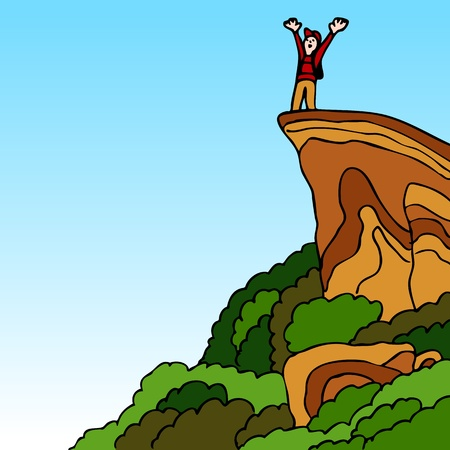 An image of a hiker reaching the summit of a mountain. Vector