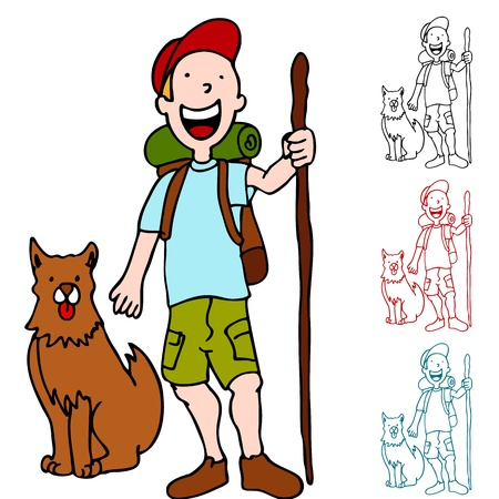 An image of a man hiking with his dog. Vector