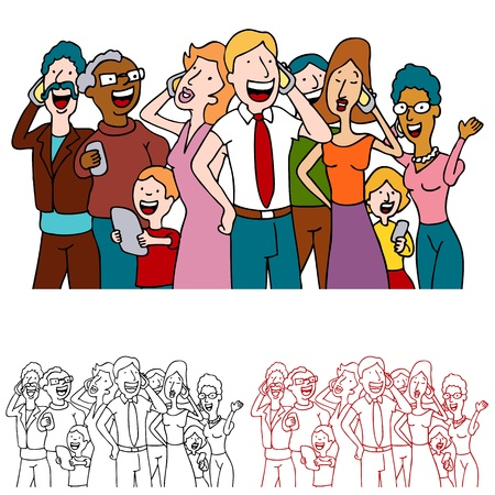 An image of a people sharing good news on their cell phones. Stock Vector - 9312698