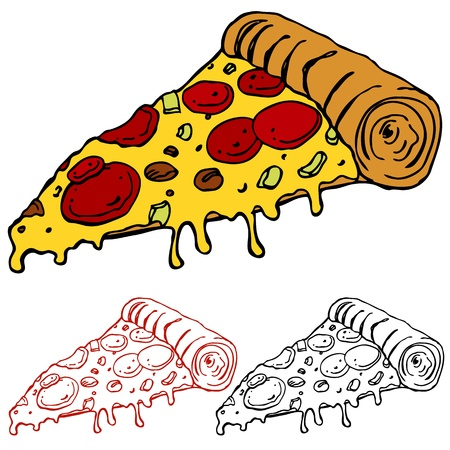 pizza slice: An image of a juicy slice of pizza. Illustration