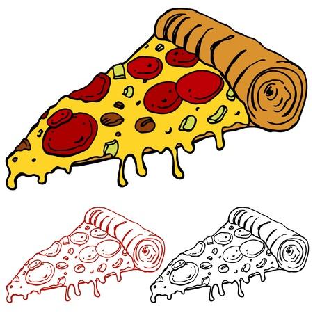 rebanada de pizza: Una imagen de una jugosa porci�n de pizza. Vectores