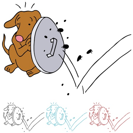 An image of a dog protecting himself from fleas. Vector