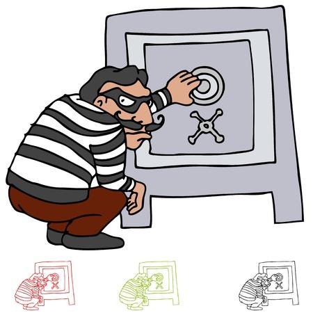 Una imagen de un ladrón intentando abrir una caja fuerte.