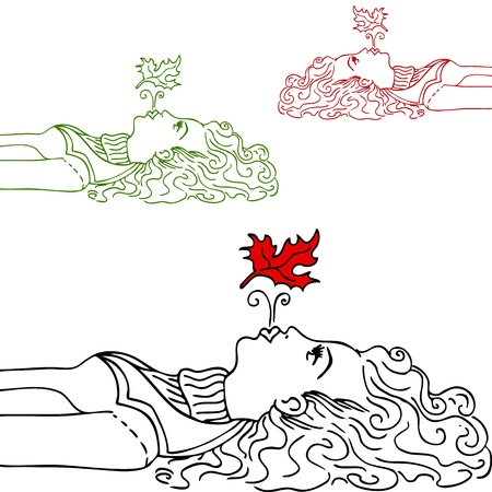 woman lying down: An image of a girl blowing a leaf in the air. Illustration