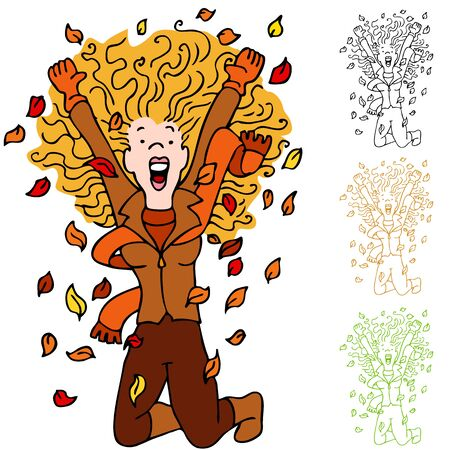fall about: An image of a girl excited about fall season with leaves falling around her.