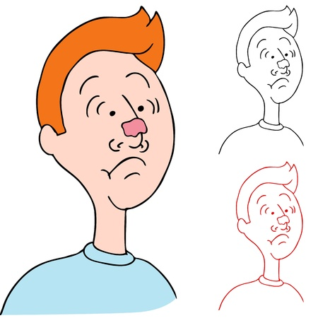 chewing: An image of a wearing chewing gum on his nose. Illustration