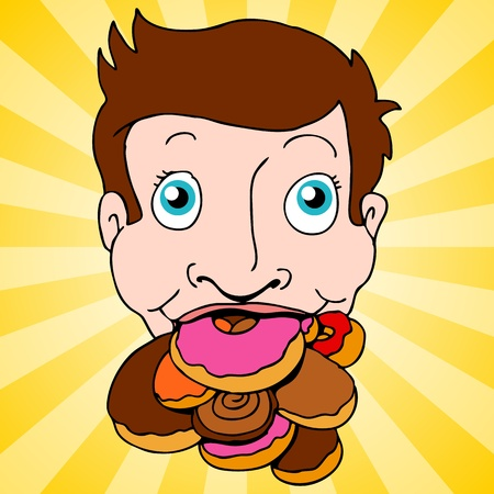 An image of a man with a mouth full of donuts. Vector