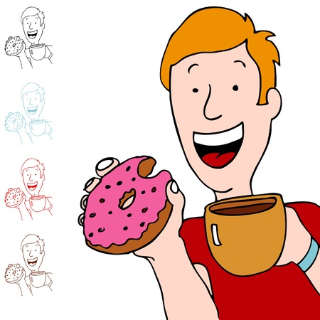 An image of a man holding a cup of coffee and eating a pink donut. Ilustracja