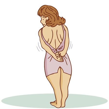 An image of a woman trying to wear a dress that does not fit her.