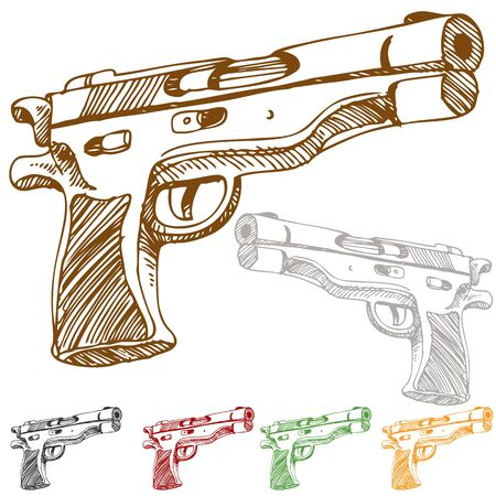 An image of a hangun sketch in different colors.