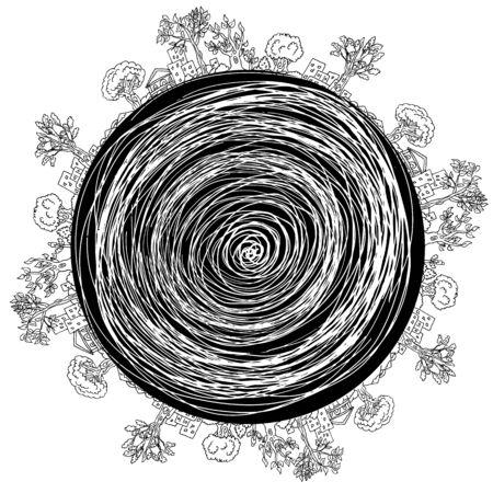 Een afbeelding van een stad landschap tekenen in een cirkelvorm.