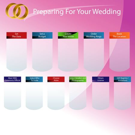 registry: An image of a wedding day preparation chart.