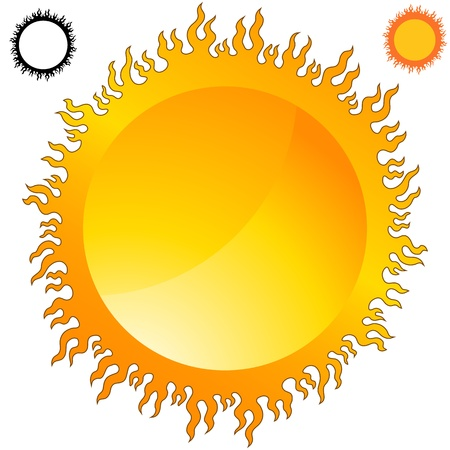 An image of a fiery flame sun icon set.