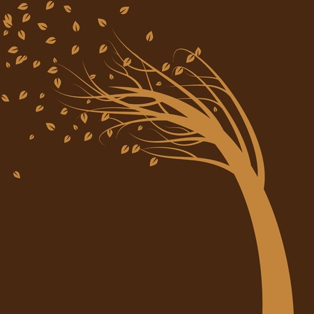 An image of a tree blowing in the wind. Vector
