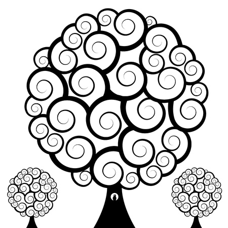 An image of a set of three swirl trees with an owl. Ilustracja