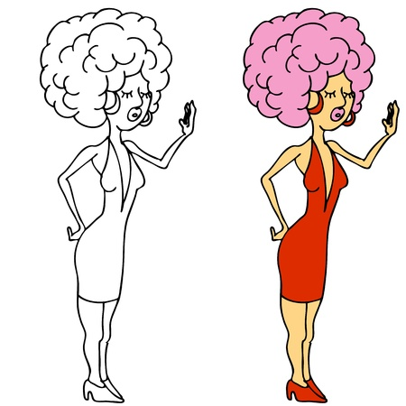 An image of a diva girl posing with big hair. Vector