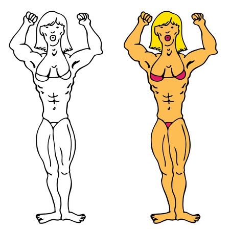 An image of a muscular female bodybuilder. Vector