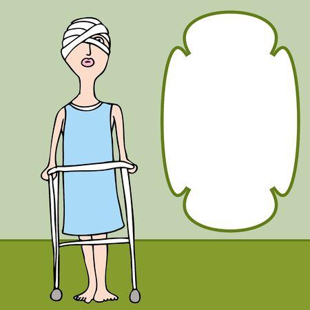 包帯頭部外傷と女性のイメージ。