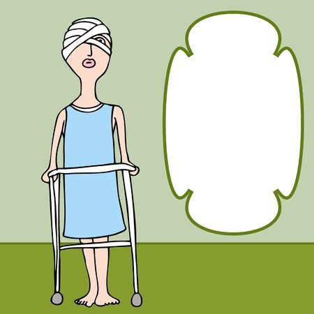 An image of a woman with a bandaged head injury. Vector