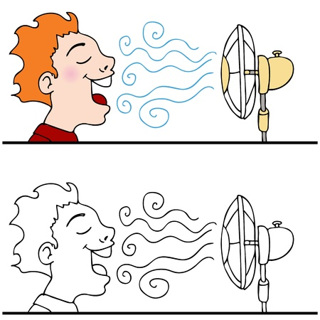 An image of a man cooling off using an electric fan. Stock Vector - 9377687