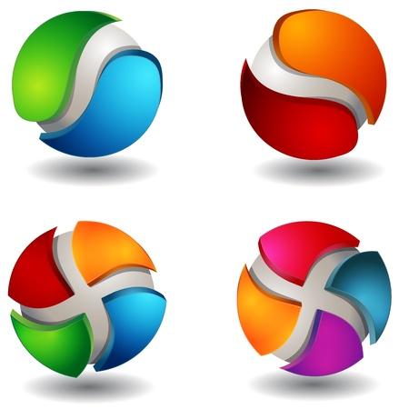 Une image d'un ensemble abstrait de sphère 3d globe. Banque d'images - 9384147