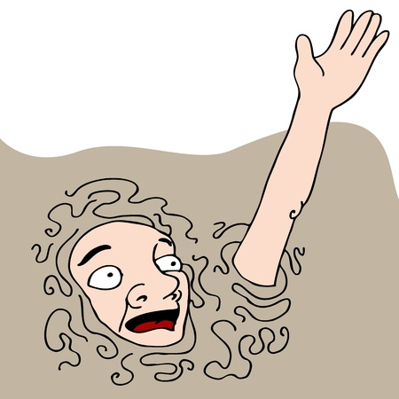 An image of a man sinking into quicksand.