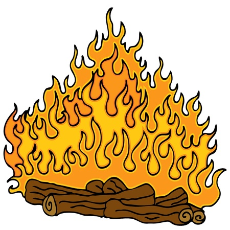 An image of a cartoon camfire with logs and flames. Vectores
