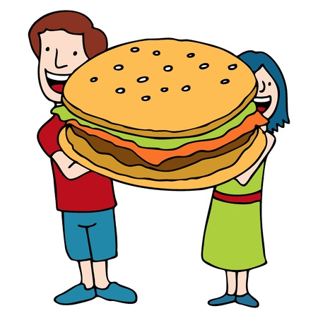 An image of a children holding a giant sized burger. Vector