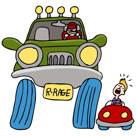 An image of a man driving a large truck angry at a man in a small car. Vector