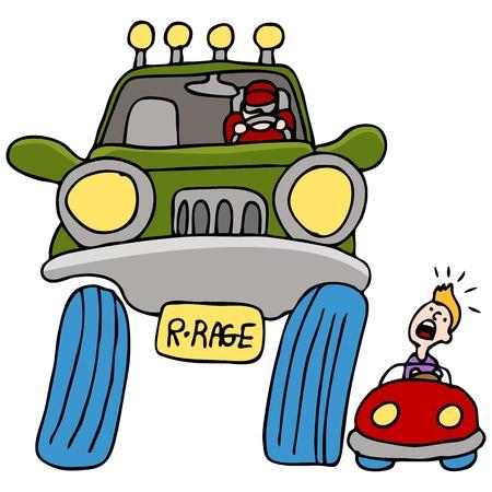 Una imagen de un hombre conduciendo un camión grande enojado con un hombre en un automóvil. Foto de archivo - 9384140