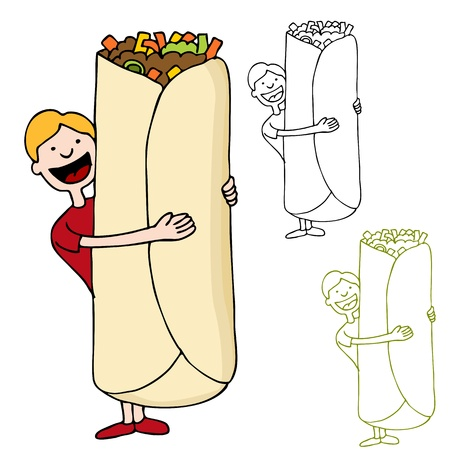 An image of a man about to eat a giant burrito. Ilustracja