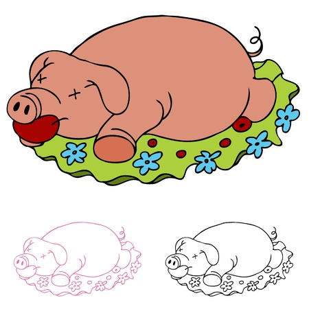 An image of a luau rosted pig. Vector
