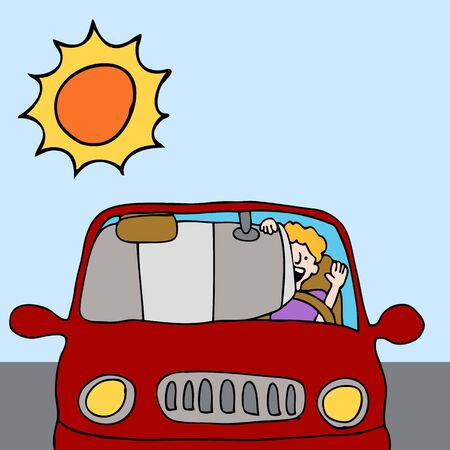 An image of a man putting up a car sun shade shield on a hot summer day. Ilustracja