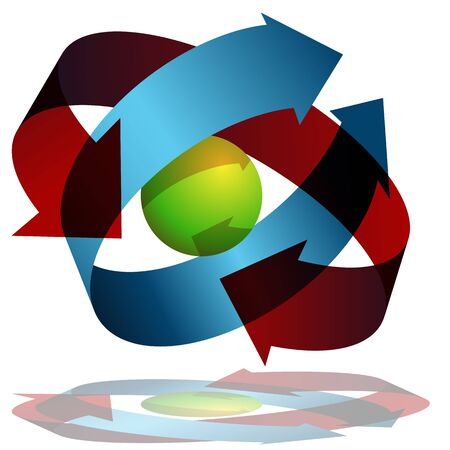 An image of arrows wrapping around a sphere.
