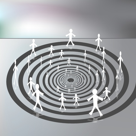 An image of a people walking along a downward spiral path.