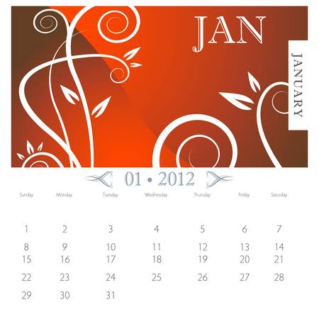 calendar page: An image of January month victorian calendar page. Illustration