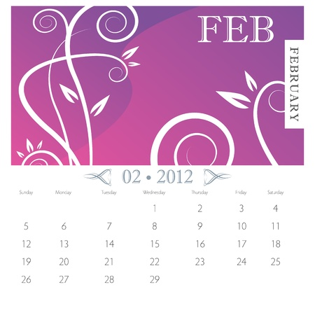 calendar page: An image of February month victorian calendar page. Illustration