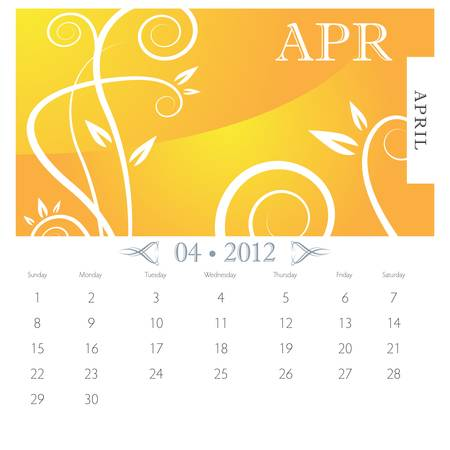 calendar page: An image of April month victorian calendar page.