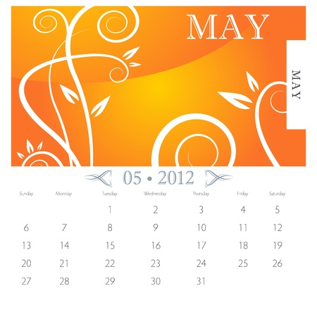 An image of May month victorian calendar page. Vector