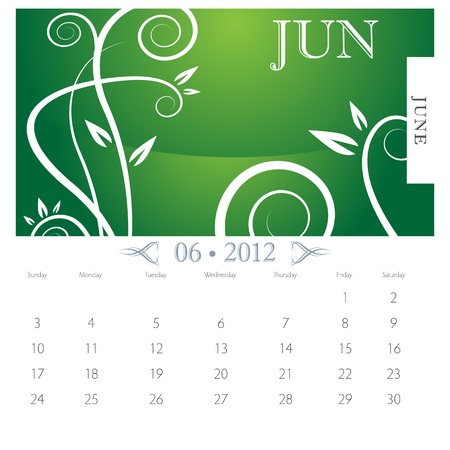 calendar page: An image of June month victorian calendar page.