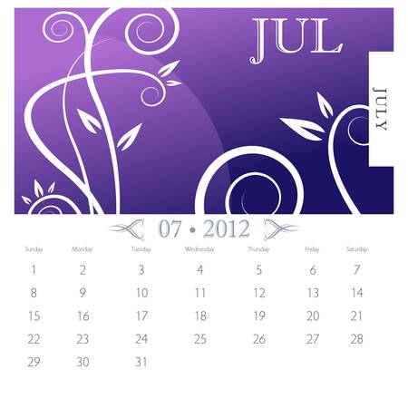 An image of July month victorian calendar page. Stock Vector - 9391230
