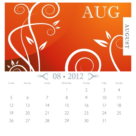 calendar page: An image of August month victorian calendar page.